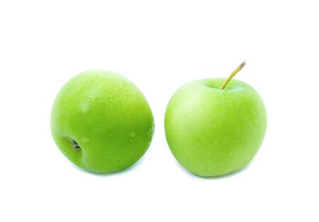 Two Green apple on white background with water drop, fruit Nourish the health body