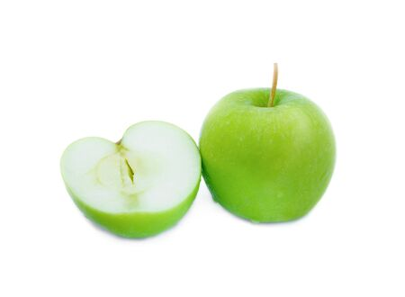 Green apple and slices on white background with water drop, fruit Nourish the health body