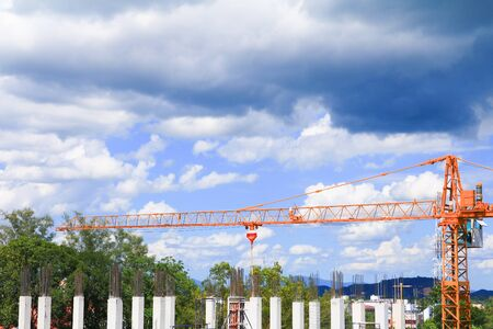 high big construction housing project in develop city and tower crane working. with copy space add text