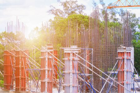 construction  housing project in building high site workplace with copy space add text 版權商用圖片