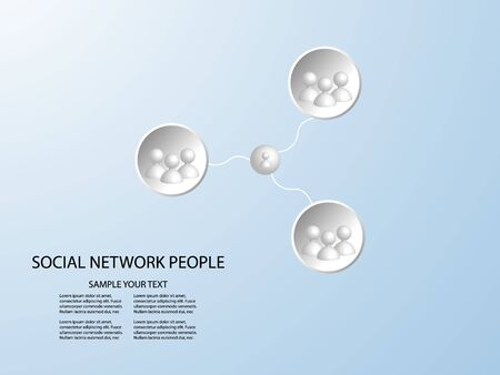 connect group 3d people - man team social network concept with connected lines in white circle on blue background. Vector illustration