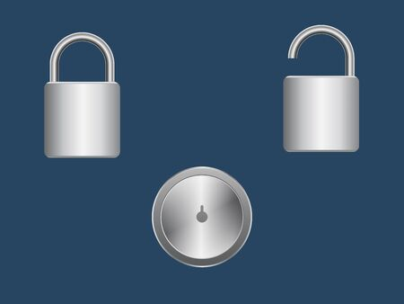 Three Lock Icon metal on blue background