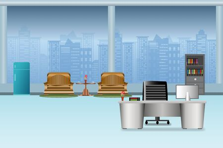 office interior with compute screen on the table  flat design and building in City blue background vector illustration  イラスト・ベクター素材