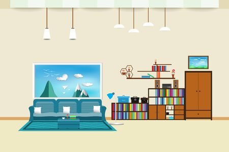 living room interior flat design relax with sofa and Computer table - chair bookshelf window sky cloud landscape meadow Bird on mountain in wall color cream background. vector illustration