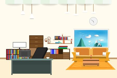 living room and office interior flat design relax with yellow sofa and Computer table - chair bookshelf window sky cloud landscape  bird on mountain in wall color cream background. vector illustration