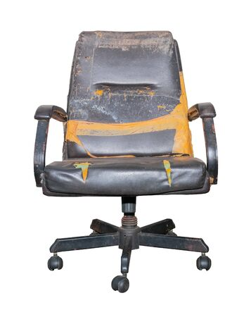 Black Office Chair old damage leather and dirty on white background,