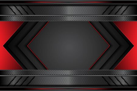 metal cyber arrow red and black line on dark metallic futuristic technology abstract modern background. design vector illustration