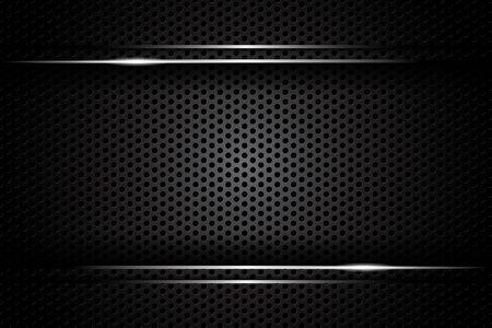 abstract metal carbon texture and line chromium on metallic sheet hole modern design background. vector illustration Illusztráció
