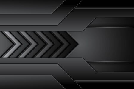abstract metal carbon texture modern with arrow  black contrast on dark design futuristic technology background. vector illustration Stock Illustratie
