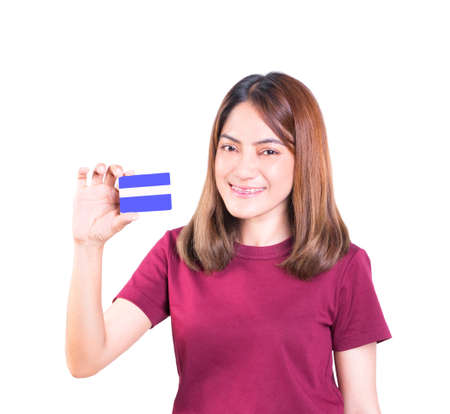 woman holding credit card. closeup on white background Imagens