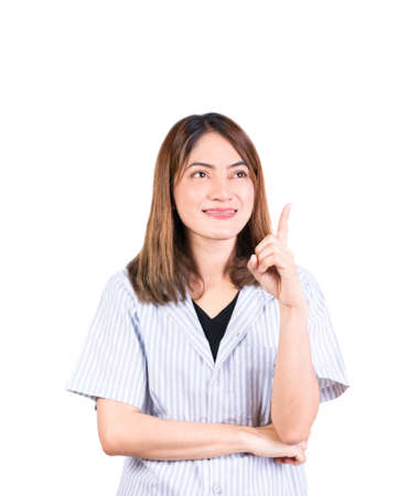 woman pointing finger up portrait on white background Stock Photo