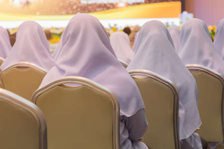 chair in classroom and student Muslims  have Social distance protect outbreak coronavirus or covid-19 virus a new normal trend