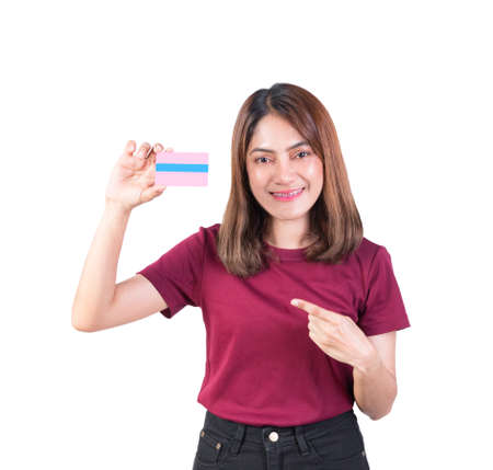 woman dental braces smile holding Pointing finger credit card. closeup on white background
