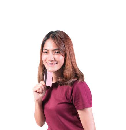 woman dental braces smile holding credit card. closeup on white background Archivio Fotografico