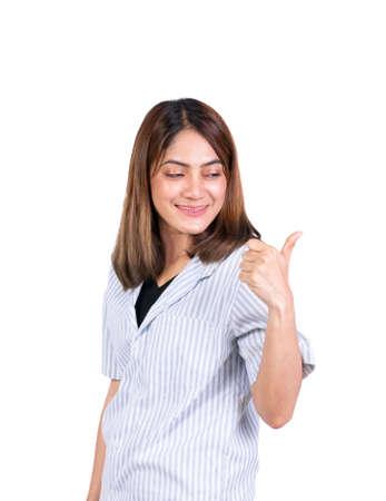 woman thumb up on white background Archivio Fotografico