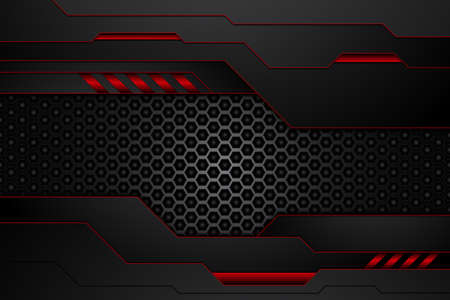 metal plate black and contrast red stripes on steel mesh. template modern technology design background. vector illustration