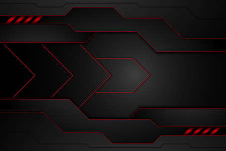 metal plate black and contrast red stripes on steel. template modern technology design background. vector illustration