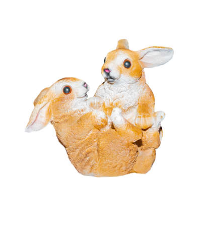 two rabbits stucco isolated on a white background