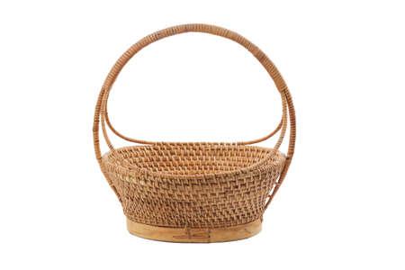 empty basket: Empty wicker basket isolated on white Stock Photo