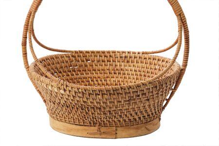 splint: Empty wicker basket isolated on white Stock Photo