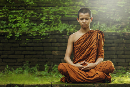 novice monk evening meditation