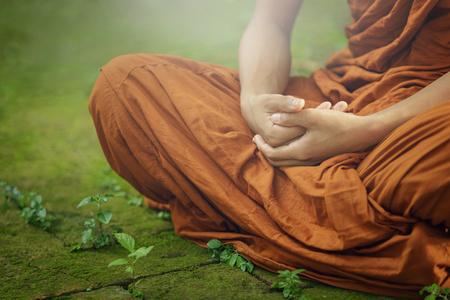 novice monk evening meditation