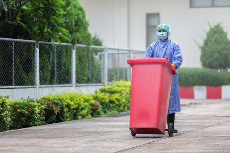 communicable: Infected people into the trash, Trash infections in hospitals Stock Photo