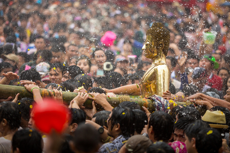 Buddha statue water ceremony in songkran festival,Luang Pho Phra Sai in thailand