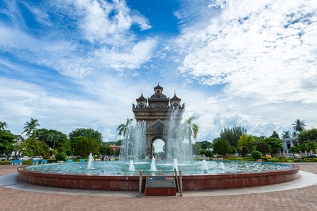 Patuxai Gate in the Thannon Lanxing area of Vientiane,Laos Stock Photo