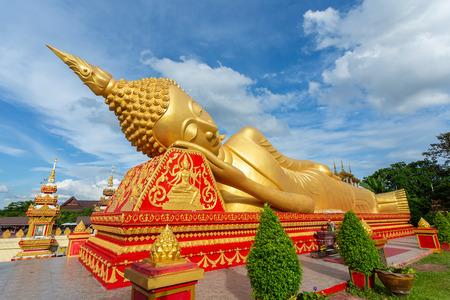 Reclining Buddha statue at Wat Pha That Luang, Vientiane, Laos.