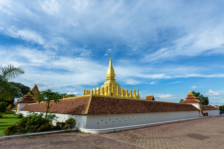 stupa of Pha That Luang in Vientiane, Laos. it have a gold cover large stupa in the center of vientiane city Stok Fotoğraf