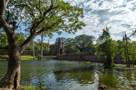 Bayon temple in Angkor Thom, landmark in Angkor Wat, Siem reap in Cambodia.