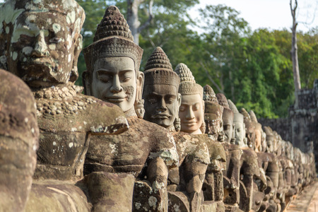 Giants in Front Gate of Angkor Thom, in Angkor Wat, Siem reap in Cambodia. 写真素材