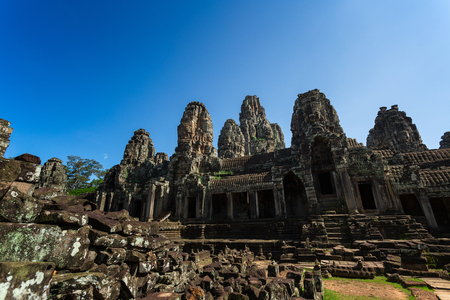 Bayon temple in Angkor Thom, landmark in Angkor Wat, Siem reap in Cambodia.