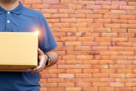 The seller prepares the delivery box for the customer, online sales, or ecommerce.