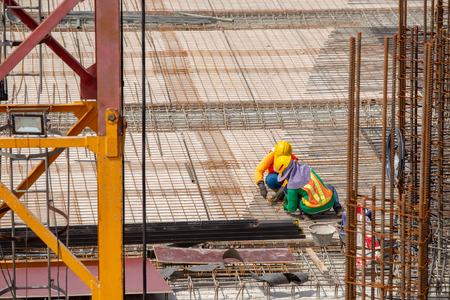 aerial view of construction worker in construction site Stock fotó