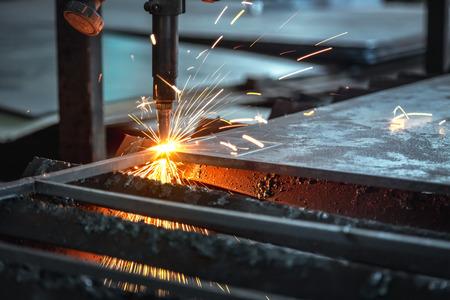 CNC CUTTING MACHINE, Industrial cnc plasma cutting of metal plate.