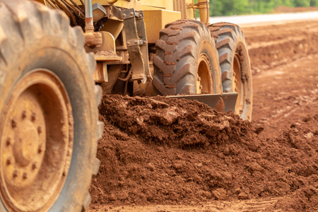 Motor Grader Civil Construction improvement base road work, Motor Grader Civil Construction