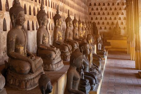 Laos, Old Buddha image in Wat Sisaket popular place to visit in Vientiane city and landmark, Old buddha statue in laos (Vientiane, Laos)