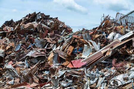 Scrap metal on recycling plant site, Recycling industry.