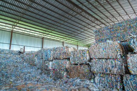 The plastic bottle for recycling in the factory. Stock Photo