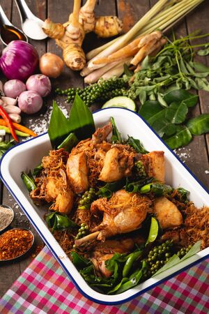 Herb Fried Chicken For health, [Thai Esan food] Herb Fried Chicken, Thai Esan local food, Thailand