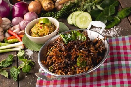 Fried cricket with herbs for health, [Isan food, Fried cricket with herbs, Isan Thai food, Thai food