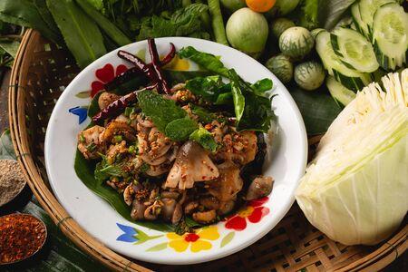 [Thai Esan food] Spicy Mushroom Straw mushroom Salad, Thai Esan local food, Thailand Reklamní fotografie