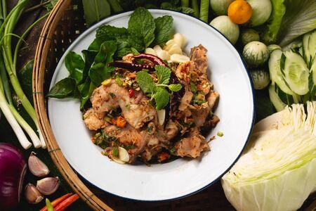 [Thai Esan food] Spicy Minced Fish Salad, Thai Esan local food, Thailand