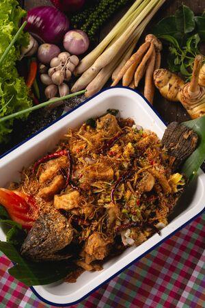 [Thai Esan food] Tubtim fish salad, herbs for health, Thai Esan local food, Thailand