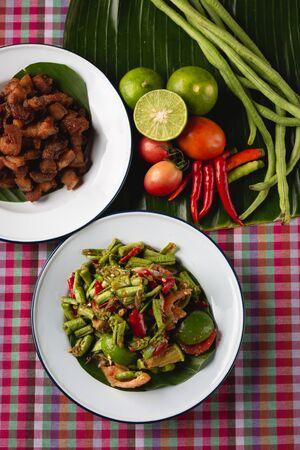[Thai Esan food] Papaya Salad with Crispy Pork, Thai Esan local food, Thailand