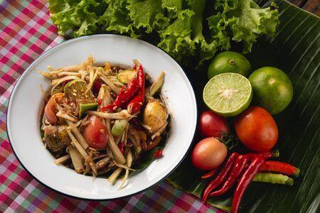 [Thai Esan food] green papaya salad, Thai Esan local food, Thailand