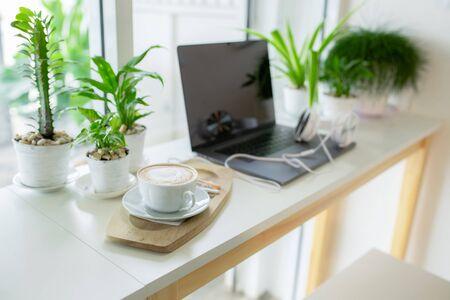 Coffee break, headphone study online, Digital technology education, Work from home, Online business, New normal