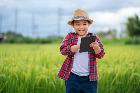 Asian Little boy watching and touchpad tablet in learning the surroundings in the green fields in the age of technology, education concept outside the classroom Educational freedom